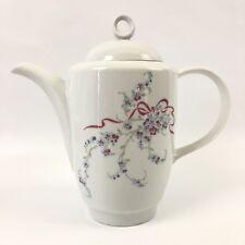 JLMENAU Porcelain Coffee Tall Tea Pot White Blue Lavender Flowers Pink Ribbon