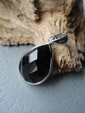 Anhänger Onyx Stein schwarz facettiert Tropfen 2,5cm  925er Silber B 40