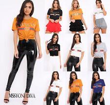 ladies Celeb Designer Inspired Casual Tops Guilty Queen Bonjour Slogan T Shirt