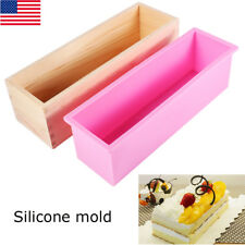 Rectangle Silicone Soap Mold Wooden Box Diy Tool Toast Loaf Bake Cake Food Molds