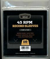 """100 2 MIL CLEAR POLY PLASTIC OUTER SLEEVES FOR 7"""" 45 RPM VINYL SINGLES / RECORDS"""