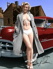 MARILYN MONROE RED 1951 PONTIAC CHIEFTAIN SIGNED AUTOGRAPH 8.5X11 PHOTO REPRINT
