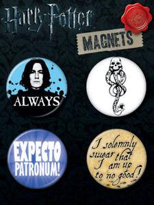 "Harry Potter Set of 4 1 1/4"" Round Magnets - Always, Dark Mark & More!!"