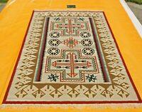 Southwestern Navajo Kilim Dhurry Handmade Area Rug 100% Wool Large Kelim Rug 6x9