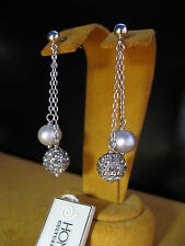 PEARL EARRINGS GRAY OMBRE CRYSTAL DANGLE SILVER GIFT HONORA GREY Christmas Gift