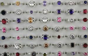 Wholesale Job Lots 45pcs Rhinestone Mixed Cubic Zirconia Copper Adjustable Rings