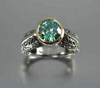 Gold Jewelry Women Vintage Wedding Sz6-10 Bridal Ring Silver Fashion Emerald