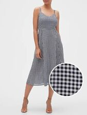 GAP Midi Black White Gingham Summer Strap Fit & Flare Dress size size XS 6 8 10