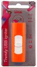 Cigarette Lighter - Champ Trendy USB Orange Plastic - NEW