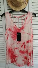 BLEU women's red and white tie dye tank top caged back stretch EX large $40 NWT