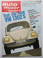 Auto Motor Sport 17/1970, Test: VW 1302S, Audi Automatic, BMW 2002, Fiat 125