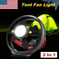 2 In 1 Tent Fan Light LED Camping Hiking Equipment Outdoor Portable Ceiling Lamp