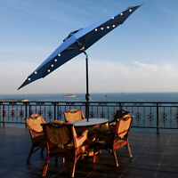 9FT Patio Umbrella LED Solar Powered Outdoor Market Beach w/Tilt Crank Sunshade