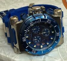 MONTRES CARLO MEN'S OVERSIZE WATCH SILVER CASE BLUE DIAL BLUE BULLET BAND NEAT!
