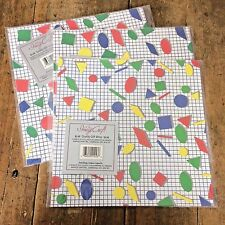 3 Packs Geometric Shapes Gift Wrap Paper Flat 6 Sheets Sealed Primary Colors