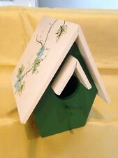 Hand Painted Decorative Leaves Green/White Wood Birdhouse Housewarming Gift