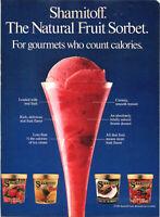 Vintage 1986 Shamitoff Natural Fruit Sorbet  Print Ad Advertisement