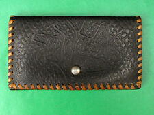 USSR, Soviet Latvia Real Leather Women's Wallet. Ornamental Stamped. Black.