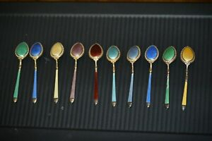 STUNNING Vtg Sterling Silver Enamel Guilloche Jeweled 10 Spoon Set Russian Style