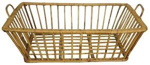 "Primitive Reed & Bamboo Rattan Basket Country Farmhouse Egg Storage 20"""