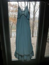 "Vintage Nightgown Silky Blue Eyelet Lace 34"" Bust Full length Excellent Cond Qe"