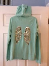 Victoria's Secret Sea Green Sequined Angel Wings Hoodie Zip Jacket S Small