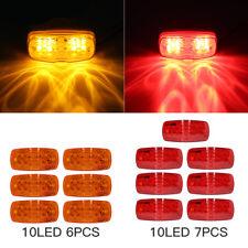 13PC Trailer Marker LED Light Double Bullseye Amber/Red 10LED Clearance Light