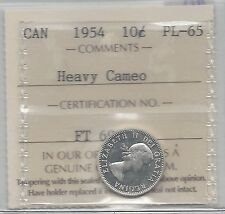 **1954**, ICCS Graded Canadian,  10  Cent, **PL-65 Heavy Cameo**