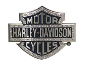 Harley-Davidson® Womens Bar & Shield Bling Silver & Black Belt Buckle HDWBU10635