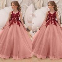 Children Kids Baby Girl Sleeveless Wedding Party Floral Long Tutu Dress Clothes