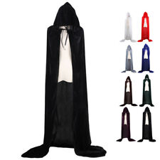 Halloween Cape Costumes Hooded Velvet Cloak Medieval Witch Wicca Vampire Robe