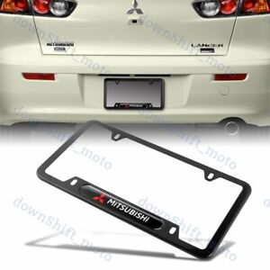 For 1PCS MITSUBISHI Black License Plate Frame Stainless Steel Metal New