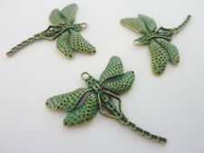 3 pce Metal Turquoise Patina Dragonfly Pendant 55mm x 50mm Jewellery Making