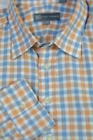 Hickey Freeman Men's Orange White Blue Check Luxury Cotton Dress Shirt 17.5 x 34