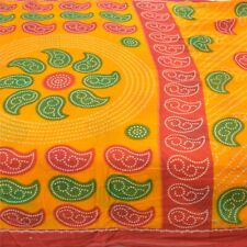 Sanskriti Vintage Sarees Yellow Pure Cotton Bandhani Printed Sari Craft Fabric