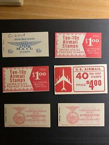 6 Complete us airmail Booklets USA Air Mail Booklets Stamps