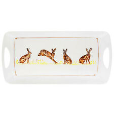 Medium Rectangular Melamine Hares Design Snack Tray Food Drinks Serving Trays