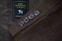 Hart Schaffner & Marx Brown Bright Blue Windowpane Woven Wool Sport Coat Sz 43R