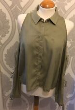 ZARA COLLECTIONS KARKI GREEN LACE TIE ARMS FRONT BUTTONS AND COLLAR SIZE 8-10