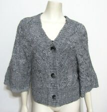 NWT Gray Wool Alpaca Blend Cardigan Sz M $99 Bat Wing Knitted Sweater 8 10
