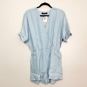 CAARA Baron Light Blue V-Neck Romper, NWT, Size L Retail $129