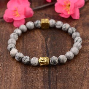Women Men OM Buddha Beads Chakra Bracelets 8mm Natural Landscape Stone Bracelets
