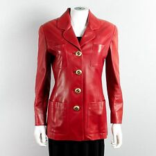 CHANEL MOST WANTED EVER VINTAGE LEATHER BLAZER - 4 - 36 - RED GOLD CC JACKET