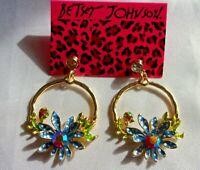 NWT BETSEY JOHNSON BLUE FLOWERS DANGLE CRYSTAL EARRINGS