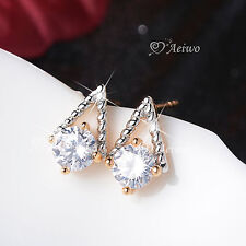 18K WHITE YELLOW GOLD GF TRIANGLE STUD MADE WITH SWAROVSKI CRYSTAL EARRINGS