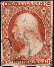 """#10A  1851 3c ORANGE BROWN REGULAR ISSUE  PSE CERT--""""GENUINE USED WITH FAULTS"""""""