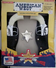 NOS vintage TootsieToy American West Double Pony Boy Six Shooters & Holster Set
