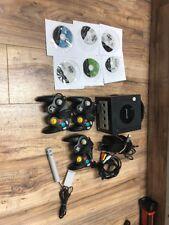 Nintendo GameCube Jet Black Console System Bundle - 3 Controllers 6 Games
