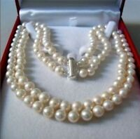 2 ROWS NATURAL 7-8MM WHITE AKOYA SALTWATER PEARL NECKLACE 17-18''