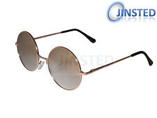 STEAMPUNK TEASHADES SUNGLASSES 50'S 60'S CIRCLE ROUND SILVER MIRRORED SP002